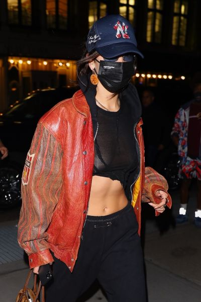 Bella Hadid Braless Boobs in a See Through Top
