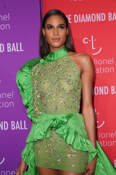 Cindy Bruna Braless Boobs in a See Through Dress